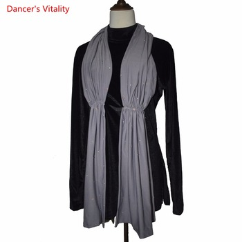 New Arrival Latin Dancing Velvet tops For Male Black Long Sleeve Sexy Tops Wears Men Adult Modern Party Ballroom Clothes