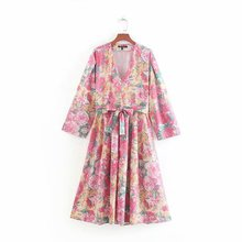 Women's V-Neck Dress Fashion Floral Lace up A-Line Dress Summer Long Sleeve Dress Fashion Beach Lace Slim Dresses все цены