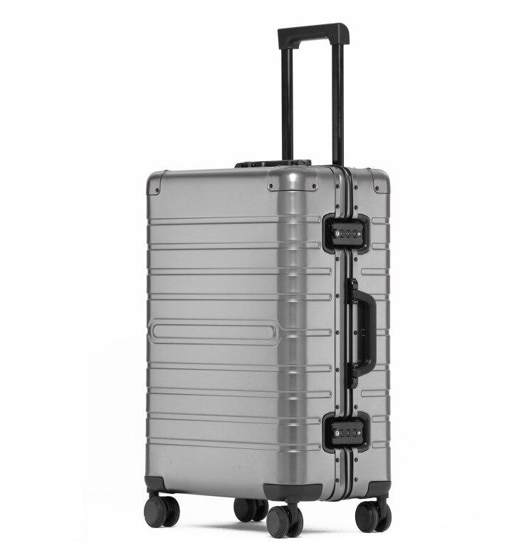 """20 """"24"""" 28 """"pouces plein alliage d'aluminium bagages boîtier de chariot hommes valise femmes roues Spinner bagages à roulettes livraison directe"""