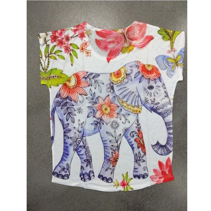 Special sale, clean up stock!! Summer Kawaii Elephant Print T-Shirt Women Short Sleeve O neck Harajuku Animals Loose Tshirts