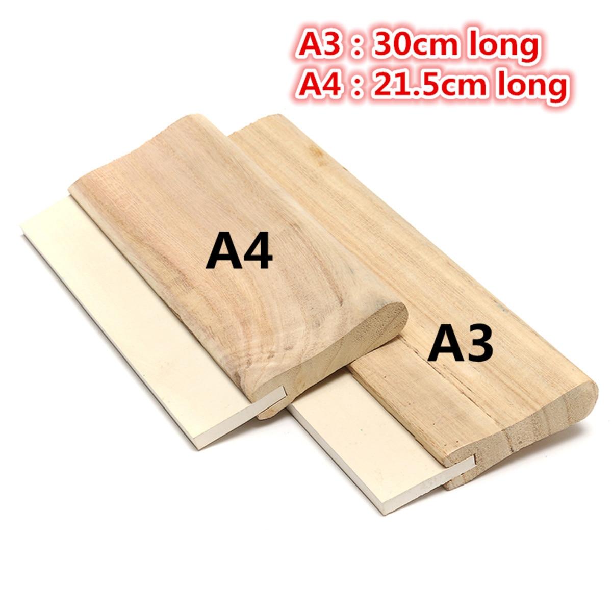 A4/A3 Silk Screen Printing Squeegee Blade Wood Handle Printing Squeegee Scraper For Printing 2 Sizes