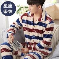 Hot Men Flannel Pajamas Set Sleepwear Winter Warm Pajamas Homewear Nighties Plaid Stripped Printing Men Sleeping