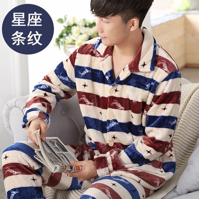 Homens Flanela Pijamas Set Pijamas de Inverno Pijamas Quentes Homewear quente Nighties Stripped Impressão Xadrez Homens Desgaste do Sono Salão 268