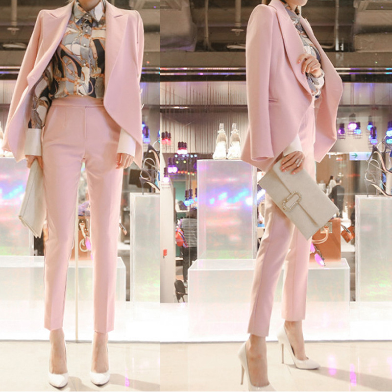 Autumn and winter professional wear women's small suit set  was thin temperament suit coat +pants  ladies casual work clothes