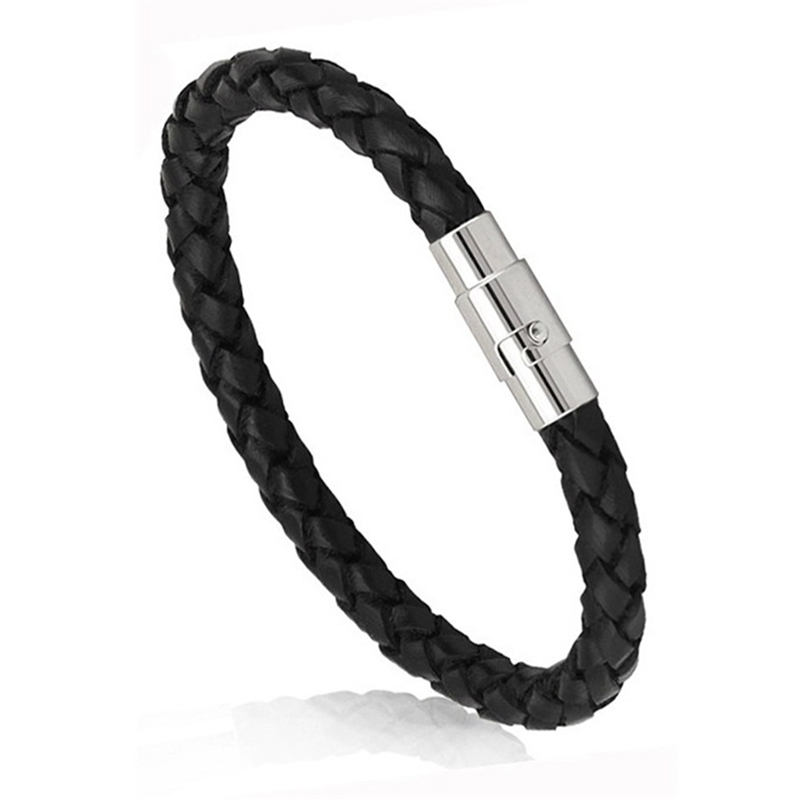 20cm Long Europe And The United States Selling Hot Magnetic Buckle Leather Woven Leather Bracelet For Women And Men