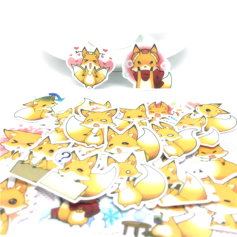 36 Pcs Cute Little Fox Paper Stickers For Car Motorcycle Phone Luggage Home Decor Fashion Vinyl Decals DIY Sticker Scrapbooking