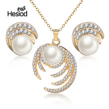 Hesiod Hollow Geometric Big Crystal Imitation Pearl Gold Silver Color Long Necklace Earrings Jewelry Sets for Women Party(China)
