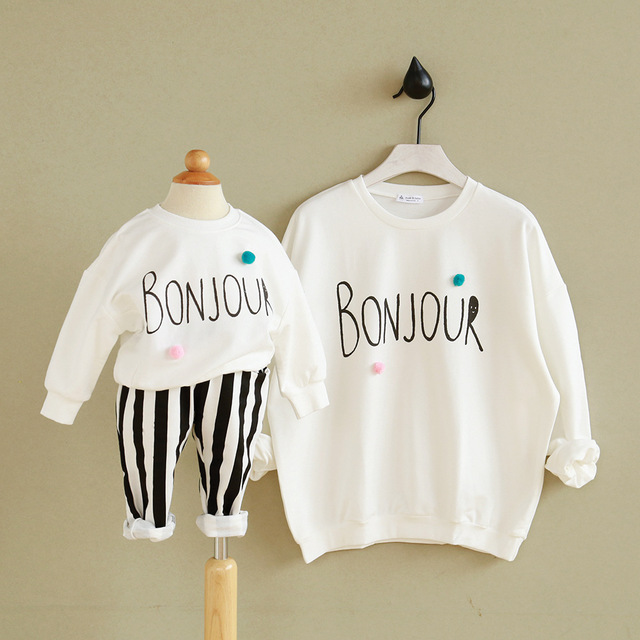 8fc891a31e3850 New Casual Mom And Daughter Hoodies Autumn Letter Clothing Family Matching  Clothes father son outfits kids