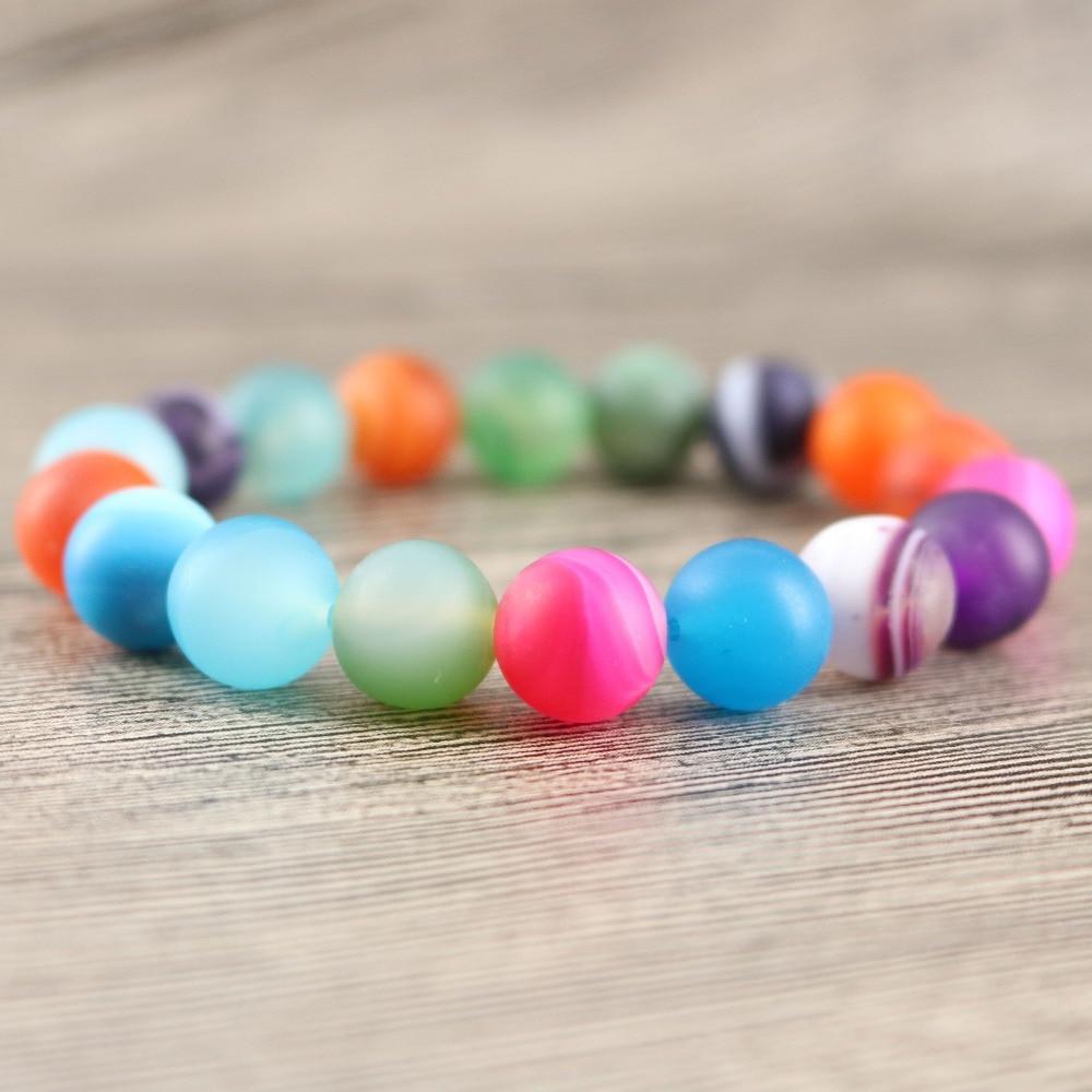 Colorful Striated Matte Stones Women Party Bracelets OL Style 6 mm 8 mm 10 mm