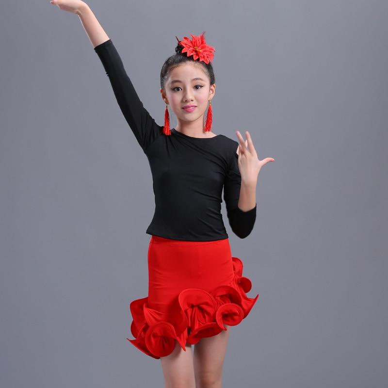 kid Girls Latin Dance Skirt Practice Kids Child Red Ballroom Tango Rumba Samba Salsa Ruffle Skirt Competition Practice Dancewear