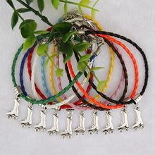 Hot 50pcs Vintage Silver Roller Skates Charms Pendants Mixed Color Braided Rope Bracelets Fashion Jewelry DIY For Women&Men S960
