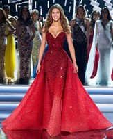 2019 Glitter Saudi Arabic Prom Dresses With Cape Gradient Sequined Mermaid Red Gradual Evening Formal Gowns Dresses Red Carpet