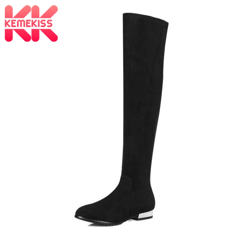 KemeKiss Classic Flat Boots Women Winter Boots Real Genuine Leather Knee High Shoes Square Heel Long Boots Size 31-45