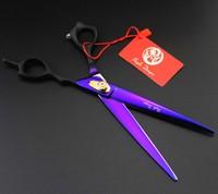 8 Inch 440C Black Purple Zilongjin High Grade Imported Pet Scissors Handle Flat Cut Pet Grooming