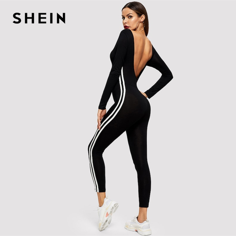SHEIN Black Striped Side Seam Backless Unitard Skinny Jumpsuit  2019 Women Maxi  Round Neck Long Sleeve Going Out Jumpsuit 2