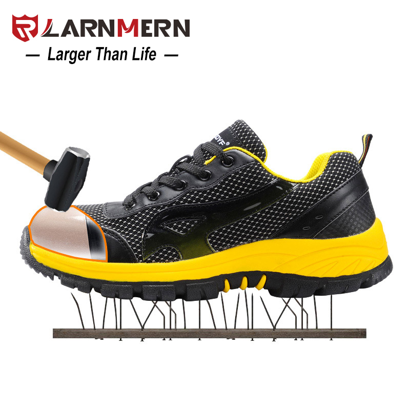 LARNMERN Men Safety Shoes Steel Toe Work Job Mesh Casual Breathable Outdoor Anti-Puncture Fashion Footwear Combat Ankle Boots