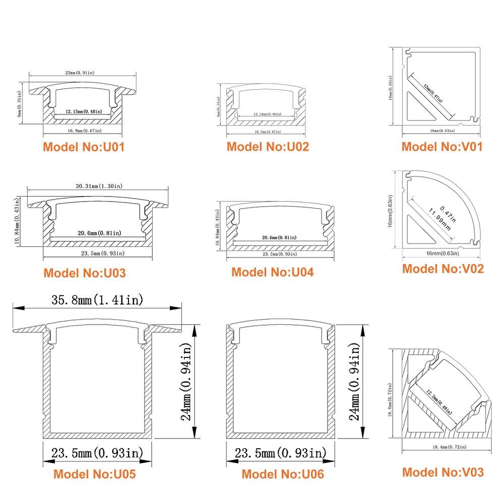 3.3Ft / 1M 10 Paket Açıq LED Alüminium Profili U Shape 12mm - LED işıqlandırma - Fotoqrafiya 6