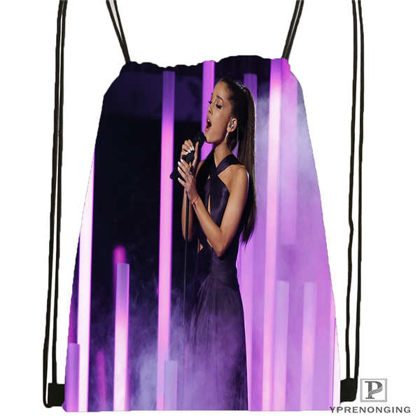 Custom Ariana-Grande- Drawstring Backpack Bag Cute Daypack Kids Satchel (Black Back) 31x40cm#20180611-02-58