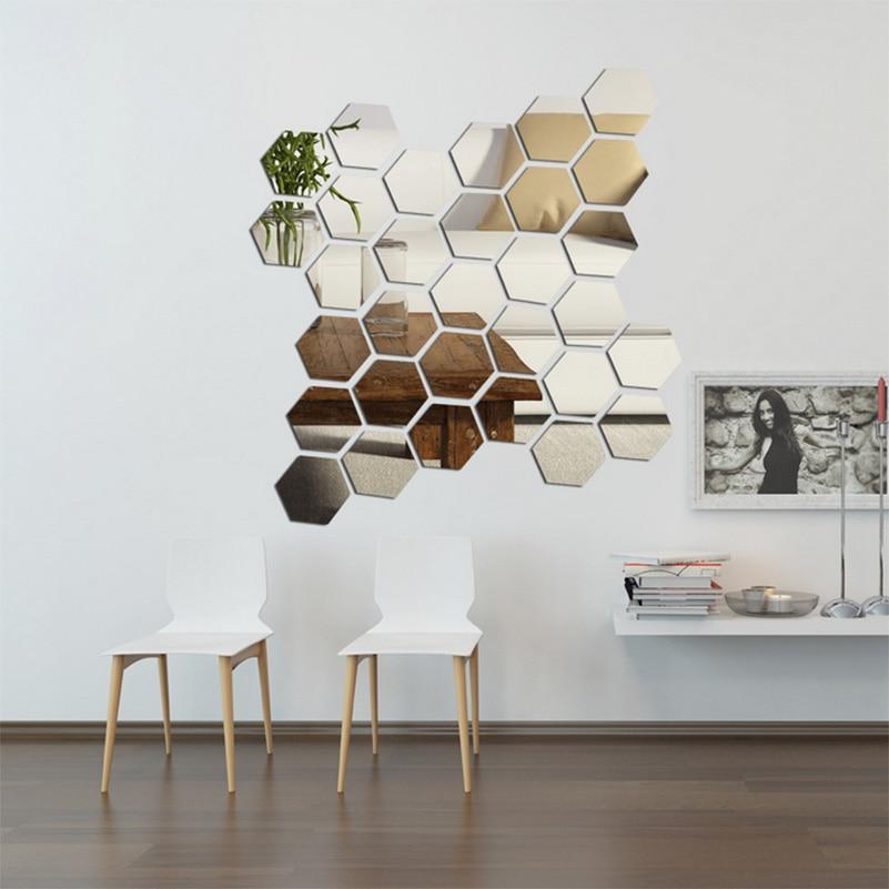 12 pcs/lot 3D Acrylic Mirror Wall Stickers Home Decorative ...