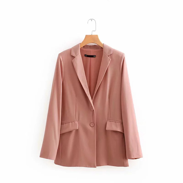 2018 Autumn Casual Solid Flap Pockets Single Breasted Women Suits Blazer feminino Vintage Notched Full Sleeve Jacket Blaser