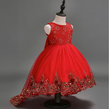 Childrens Wedding Flower Girl Princess Red Sleeveless Drag Tail Dress Big Host