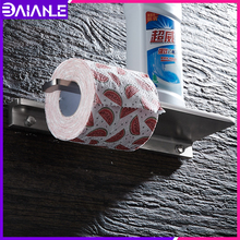 Toilet Paper Holder Shelf Black Aluminum Bathroom Roll Decorative Tissue Towel Holders Wall Mounted