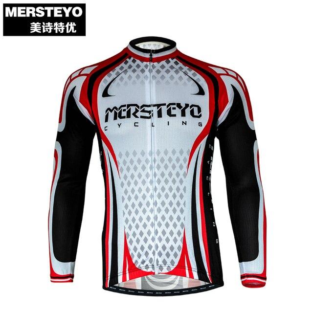 9054770c4 MERSTEYO Pro Men Bike jersey Long Sleeve Team Cycling clothing White Black  Male Riding Top MTB