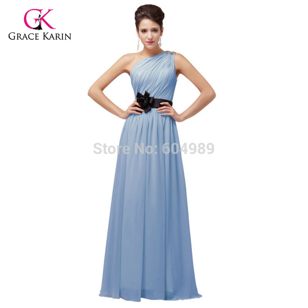 2017 Elegant Pink/Purple/Blue/Yellow One Shoulder Prom Dresses Long ...