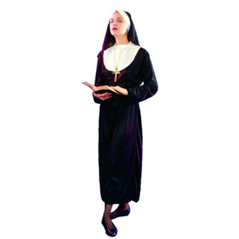 Women Ladies Clergyman Nun Sister Clothing Drama Missionary Costume Adults Fancy Dress Carnival Cosplay Costumes