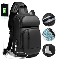 NIGEER Black Chest Pack Men Casual Shoulder Crossbody Bag USB Charging Chest Bag Water Repellent Travel