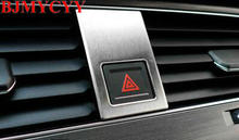 BJMYCYY Automotive warning lamp switch stainless steel decorative patch for VW Volkswagen Golf MK7 2014 bjmycyy free shipping car trunk handle metal light box for vw volkswagen golf mk7 2014