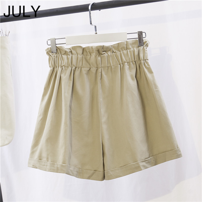 JULY Summer Shorts Cotton Retro Korean Women Shorts 2019 Fashion Ladies Casual Button Pocket High Waist Wide Leg Shorts Female in Shorts from Women 39 s Clothing