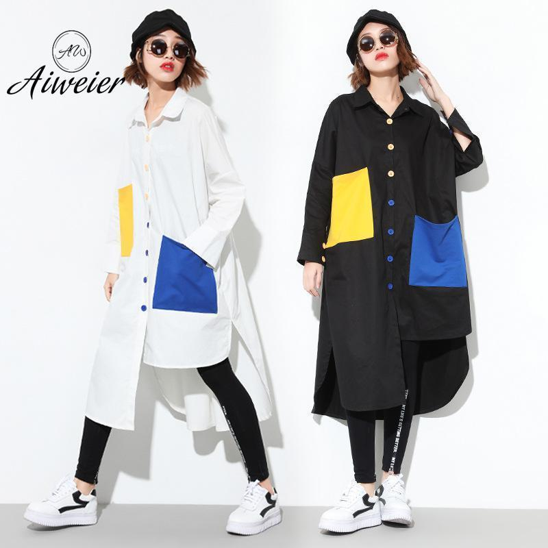 [Aiweier] Women's Blouses Plus Size 2018 Spring Summer Long Casual Patchwork Cardigan Irregular Cotton Female White Shirt Tops