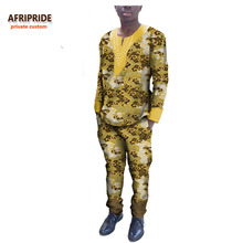 2017 traje de los hombres africanos del otoño AFRIPRIDE personalizado personalizado O-cuello top + tobillos traje pantalón diamantes en el pecho puro algodón A731603