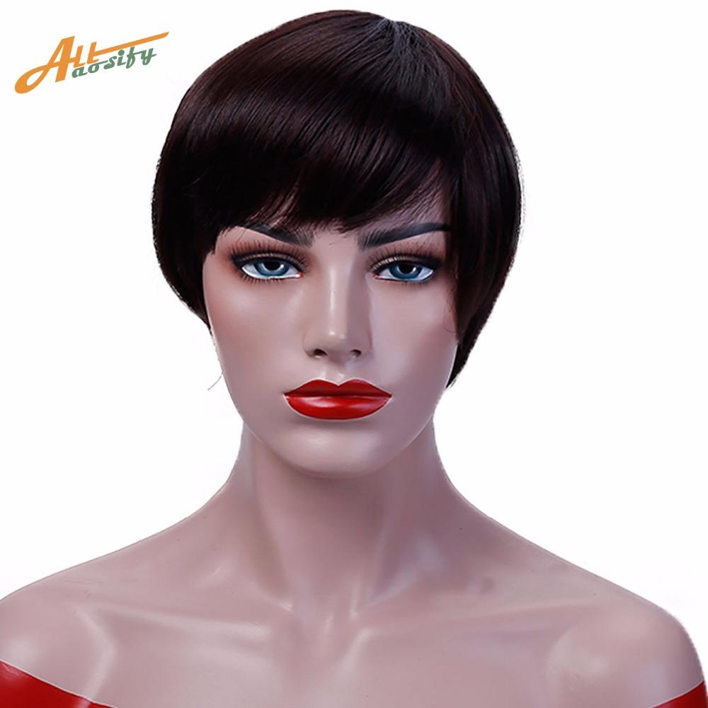 Allaosify short straight hair Synthetic Black brown white Blonde 12 5color cosplay bob wig Heat Resistant women peruca