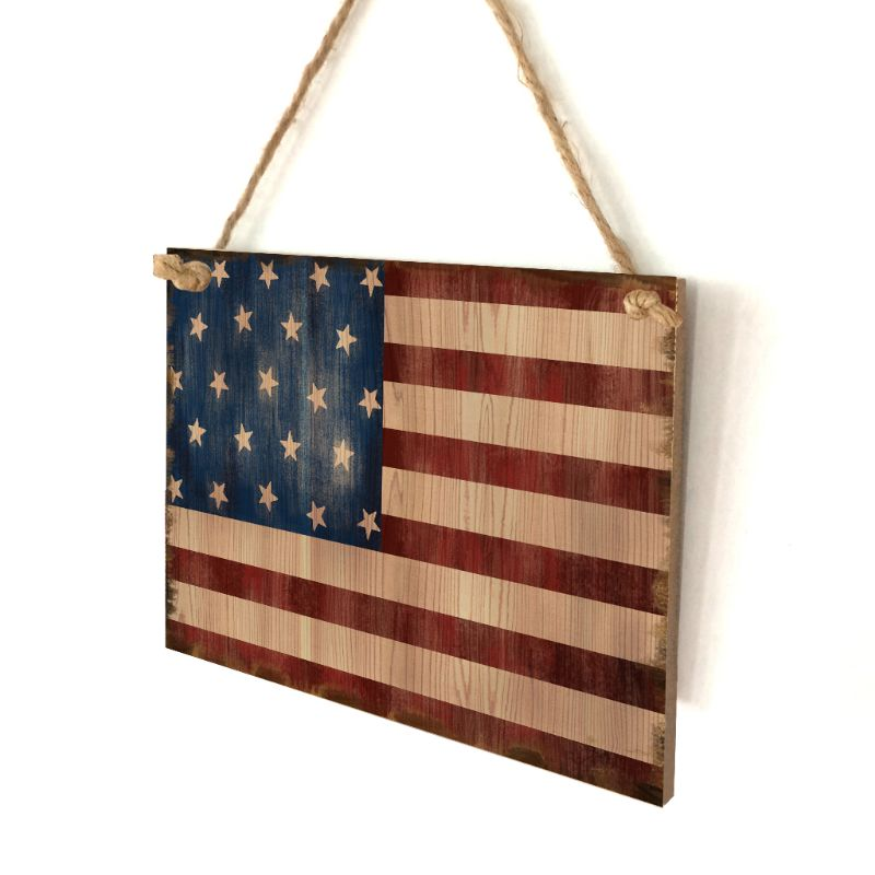 Image 2 - Vintage Wooden Hanging Plaque American Flag Sign Board Wall Door Home Decor Independence Day Party Gift-in Plaques & Signs from Home & Garden