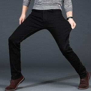 Image 2 - Mens Classic Black Jeans Elastic Slim Fit Denim Jean Trousers Male Plus Size 40 42 44 46 Business Casual Pants Brand