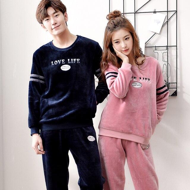 476e47ce549b JCVANKER 2018 New Hot Sale Winter Flannel Couple Pajama Sets Women Pajamas  For Men Cute Pyjama Sleepwear Home Suit Nightwear
