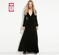 2018 Ladys High quality velvet long sleeves Banquet Party dresses womens noble low cut V neck Female OL maxi Long dress