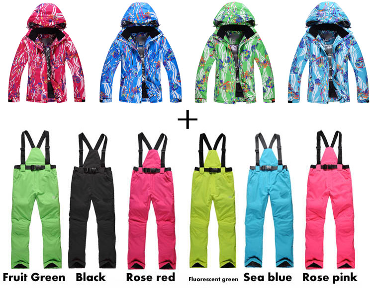 Women Snow Clothing NEW Arrived  Colorful Flower Women Snowboard Coat 10K waterproof Ski Suit Sets Winter Warm Costume