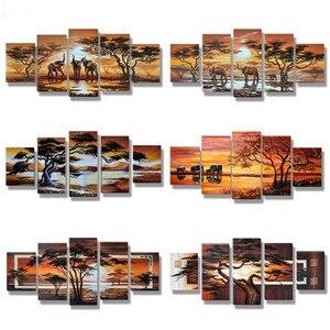 Image 1 - 5D diy بها بنفسك الماس اللوحة المشهد الأفريقي مشهد صور الراين 5 قطعة مربع عبر غرزة التطريز ديكور المنزل A3