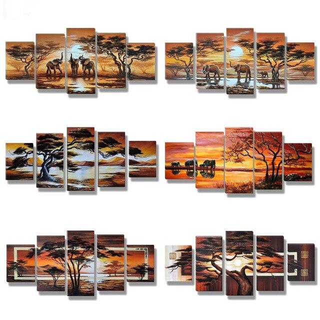5D diy بها بنفسك الماس اللوحة المشهد الأفريقي مشهد صور الراين 5 قطعة مربع عبر غرزة التطريز ديكور المنزل A3