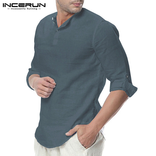 INCERUN Fashion Men Shirt Long Sleeve Cotton Solid Casual Basic Shirt Men Tops Leisure Fitness Pullovers Camisa Plus Size 2019 2