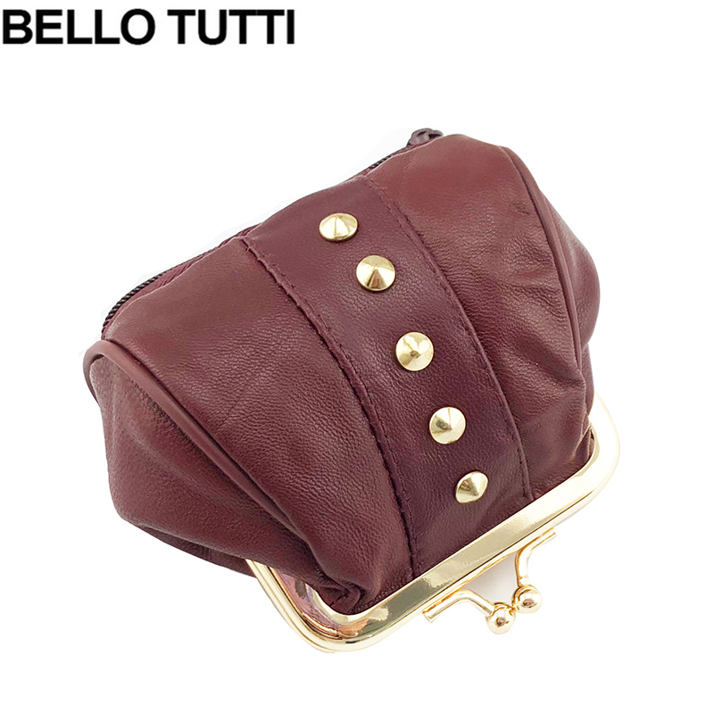 BELLO TUTTI Genuine Leather Coin Purse Women Coin Wallets Metal Farme Small Change Purse Mini Coin Purse Women Bag