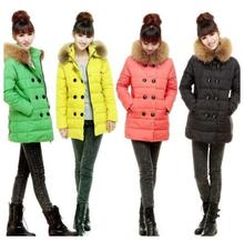 New 2014 Winter Women Long White Duck Down Jacket Women Coat With Fur Collar Red Green Yellow Black XS-XXL Free Shipping