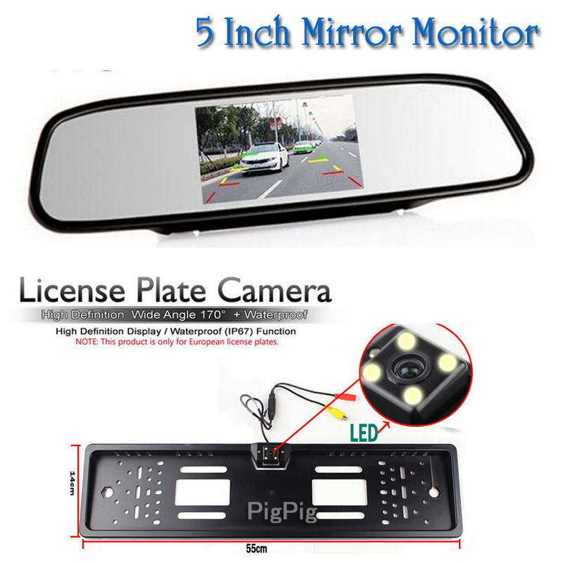 HD 5 Inch 800*480 Rearview Mirror Monitor LCD TFT Screen and Car License Plate Frame Rear View Camera European Auto parking Cam auto backup rear licence plate rearview camera with 7 inch bluetooth mp5 tft display monitor mirror usd fm slot free shipping