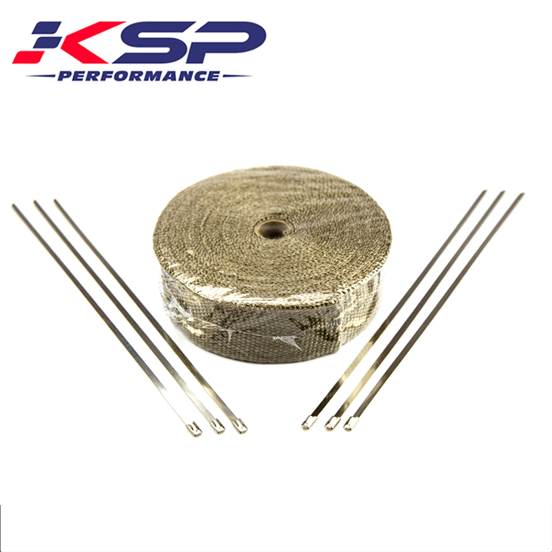 Kingsun Titanium Heat Exhaust Thermal Wrap Tape & Stainless Ties 2''x50'