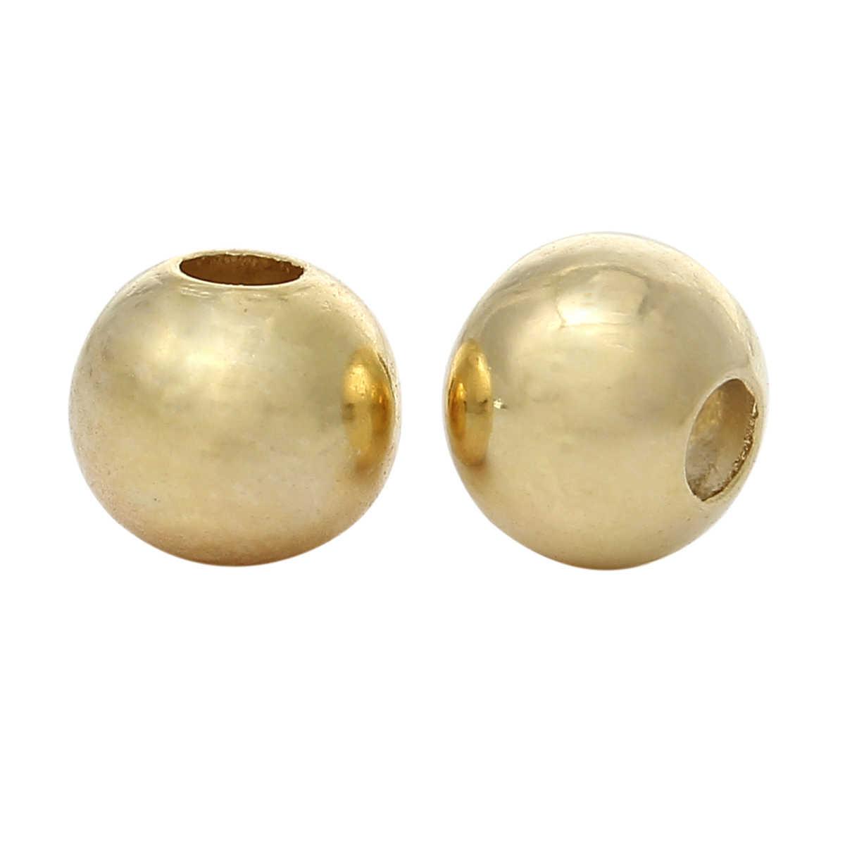 """Cuentas espaciadoras de cobre Color dorado alrededor de 3mm (1/8 """") diámetro, agujero: aprox. 1mm, 15 Uds. Nuevo"""