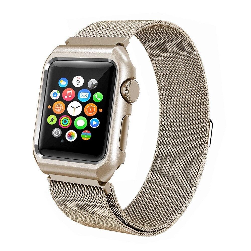 Milanese Loop With Metal Bumper Case für Apple Watch Band Serie 3 2 - Uhrenzubehör - Foto 5
