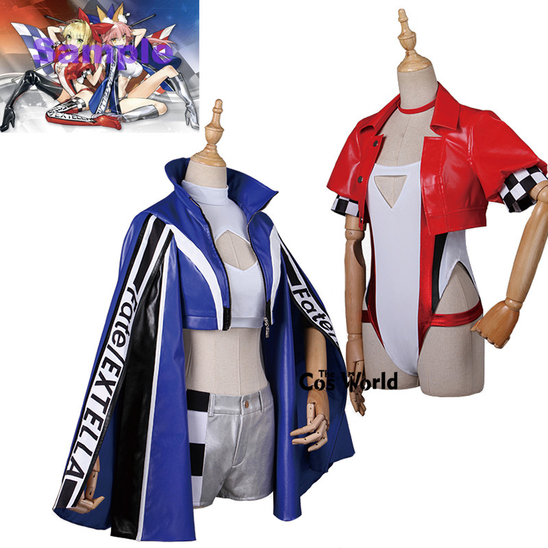 Fate EXTELLA EXTRA Tamamo No Mae Nero Saber Racing Suit Jackets Uniform Outfit Anime Cosplay Costumes